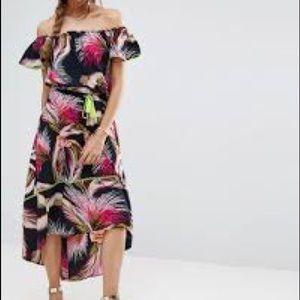 ASOS Tropical Print Off Shoulder Maxi Dress